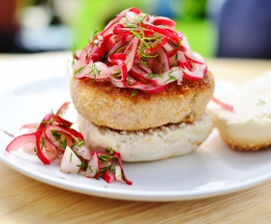 Salmon amaranth burgers with radish slaw